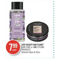 Love Beauty and Planet Hair Care Or Axe Styling Products