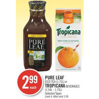 Pure Leaf Iced Tea Or Tropicana Beverages