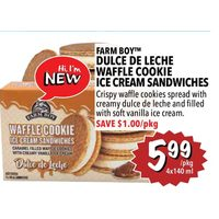 Farm Boy Dulce De Leche Waffle Cookie Ice Cream Sandwiches