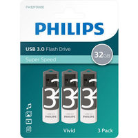 Philips Vivid 32GB USB 3.0 Flash Drive - 3 Pack