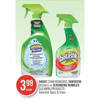 Shout Stain Remover, Fantastik Or Scrubbing Bubbles Cleaning Products