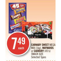 Carnaby Sweet Mega Mix, Maynards Or Cadbury Snack Size