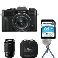 Fujifilm X-T30 Mirrorless Digital Camera With XC 15-45 MM Lens Kit, Plus XC50-230mm Lens, Bag, Memory Card And Tripod