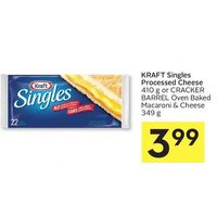 Kraft Singles Processed Cheese Or Cracker Barrel Oven Baked Macaroni & Cheese