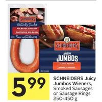 Schneiders Juicy Jumbos Wieners, Smoked Sausages Or Sausage Rings