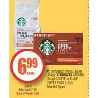 Pc Organics Whole Bean, Starbucks Ground Coffee Or K-Cup Coffee Pods