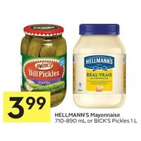 Hellmann's Mayonnaise Or Bick's Pickles