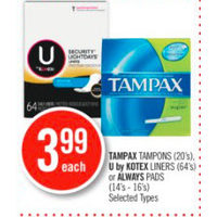 Tampax Tampons, U By Kotex Liners Or Always Pads