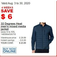 32 Degrees Heat men's Mixed Media Jacket