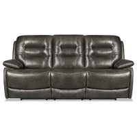 "90"" Orry Genuine Leather Power Reclining Sofa"
