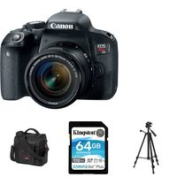 Canon EOS Rebel T7i With 18-55mm IS II Lens Kit, Mini Tripod, 64GB Memory Card And Canon 800SR Medium Size DSLR And Accessory Bag