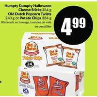 Humpty Dumpty Halloween Cheese Sticks, Old Dutch Popcorn Twists Or Potato Chips