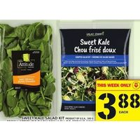 Sweet Kale Salad Kit, Fresh Attitude Baby Spinach or Spring Mix