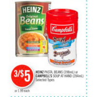 Heinz Pasta, Beans Or Campbell's Soup At Hand