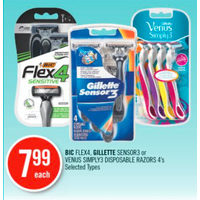 BIC Flex4, Gillette Sensor3 Or Venus Simply3 Disposable Razors