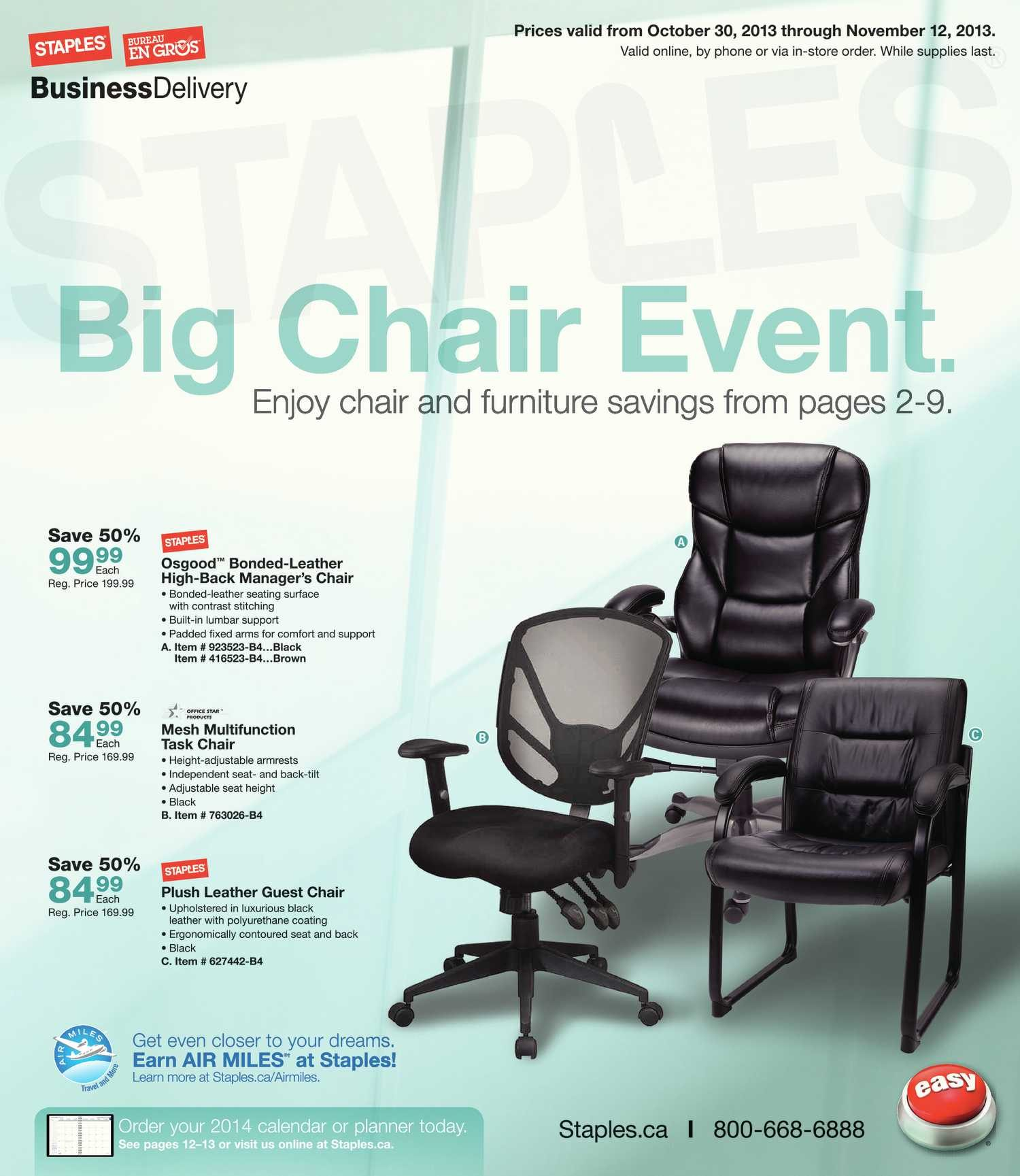 Staples Weekly Flyer - Business - Big Chair Event - Oct 30 u2013 Nov 12 - RedFlagDeals.com & Staples Weekly Flyer - Business - Big Chair Event - Oct 30 u2013 Nov 12 ...