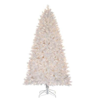 Holiday Living Christmas Tree.Lowe 039 S Holiday Living 7 Ft Pre Lit Jeffrey White Pine