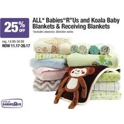 All Babies R Us and Koala Baby Blankets & Receiving Blankets - From $11.17 (25% off)