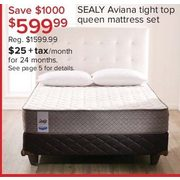 Sealy Aviana Tight Top Queen Mattress Set - $599.99 ($1000.00 off)