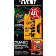 Quaker State or Pennzoil Conventional Oil and a Farm Extra Guard Oil Filter - From $25.88/Pk (40% off)