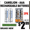 Camelion-AAA Rechargeable Batteries - $2.99