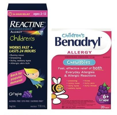 Rexall: Children's Benadryl or Children's Reactine Allergy Relief