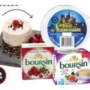Boursin, Notre Dame Brie, L'extra Brie or Camembert, Ile De France Roquefort or Soignon Goat Cheese or Coombe Castle English Chees