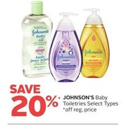 Johnson's Baby Toiletries - 20% off